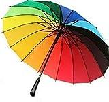 RiSh Collection Multicolor Stick Umbrella (Rainbow Color)