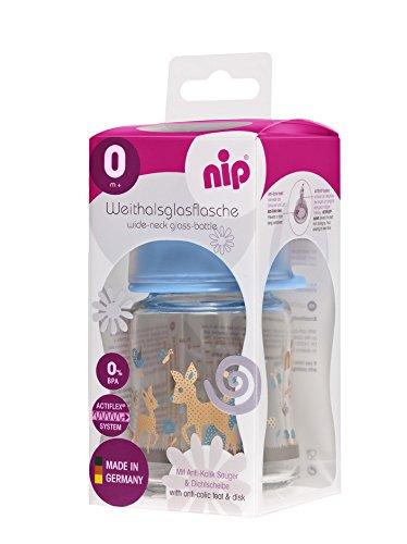 nip 35.065 Weithalsflasche vidrio Boy con gran cuello de botella pezón grupo de silicona 0 leche, 120 ml: Amazon.es: Bebé