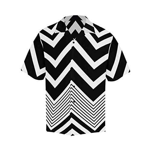 (InterestPrint Shirts Short Sleeve Zig Zag Stripe Short Sleeve Button Up Shirt for Men S)