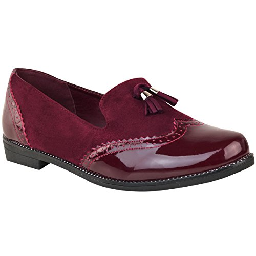 Moda Donna Assetata Nappa Piatta Mocassini Brogues Dress Shoes Ufficio Dimensione Bordeaux Faux Suede / Patent