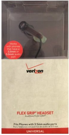 - Verizon Wireless Flex Grip Headset - Compatible with 3.5mm and 2.5mm Phones