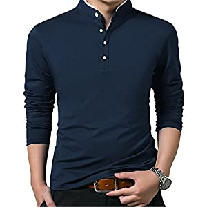 KUYIGO Men's Casual Slim Fit Pure Color Long Sleeve Polo Fashion T-Shirts