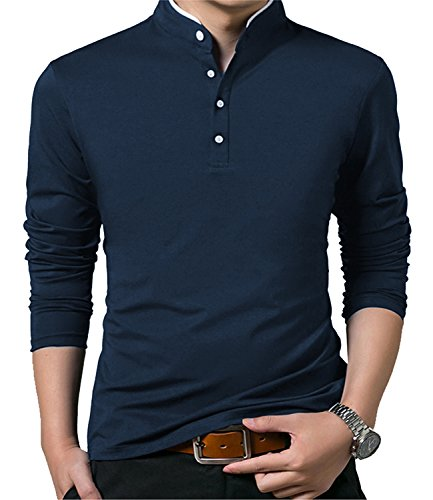 YTD Mens Summer Slim Fit Pure Color Short Sleeve Polo Casual T-Shirts (US Medium, Long Sleeve Navy)