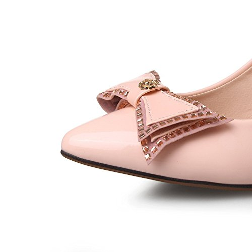 AllhqFashion Damen Lackleder Stiletto Spitz Zehe Rein Ziehen auf Pumps Schuhe Pink