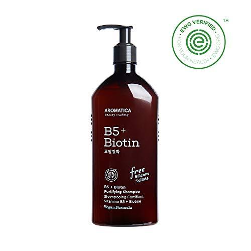 (AROMATICA B5+Biotin Fortifying Shampoo 13.53oz / 400ml, Silicone Free, Sulfate Free, Vegan, EWG VERIFIED)