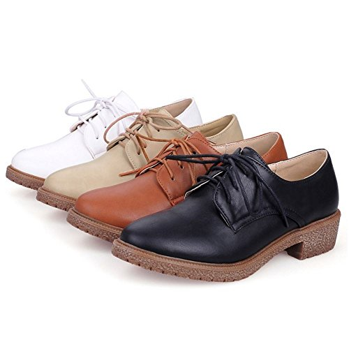 Zanpa Mujer Casual Zapatos Oxford Tacon Bajo Shoes Brown