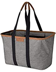 CleverMade 7002-HGRY-00061PK 30L SnapBasket LUXE - Reusable Collapsible Durable Grocery Shopping Bag - Heavy Duty Large Structured Tote, Heather Grey No Shoulder Strap
