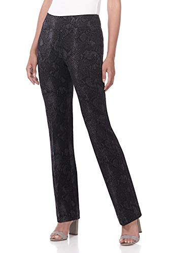 Rekucci Women's Secret Figure Pull-On Knit Bootcut Pant w/Tummy Control (10,Black/Smoke Snake)
