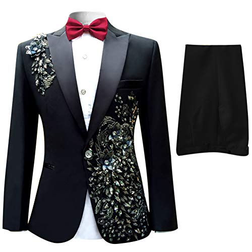 Cloudstyle Mens Peak Lapel One-Button Wedding Party Blazer Jacket and Pants, Large, Black 1