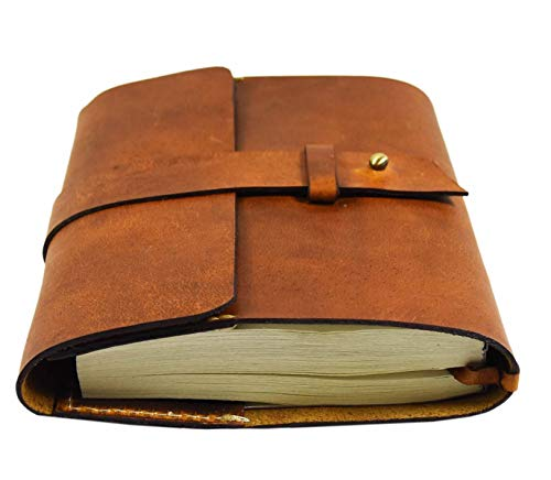 Aaron Leather Journal Refillable Writing Notebook-Traveler's Notebook by Aaron Leather Goods ()