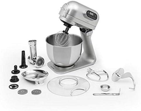 Klarstein Curve Plus robot de cocina - Mezcladora de 5 litros, Picadora de carne 4 en 1, Multifunción, Rotación planetaria, Aluminio, Accesorios, Plateado: Amazon.es: Hogar