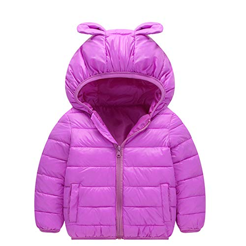 Baby Clothes Boy 9-12 Months,Children Kids Boys Girls Long Sleeved Hooded Keep Warm Wadded Jacket Clothes,Baby Boys' Novelty Bodysuits,Purple,90