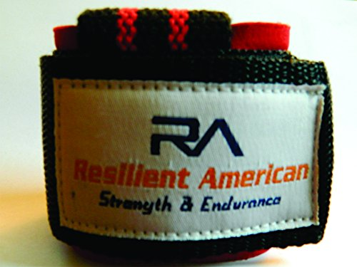 Wrist lifting straps for bodybuilding and weight lifting - Best wrist wrap for barbel and deadlift - Resilient American High Quality Materials Provides forearm and wrist support - Awesome black and red design - 1 year warranty by Resilliant American