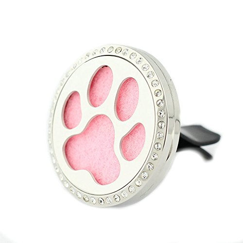 Jenia 316L Stainless Air Freshener Pendant Magnetic Essential Oil Diffuser Perfume Jewelry Clip for Car (Paw prints car (Charming Wholesale Jewelry)