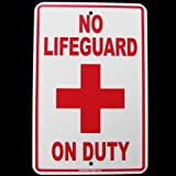 No Lifeguard on Duty Swimming Pool Swim Hot Tub Sign Ad