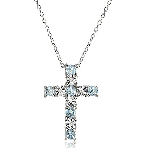 Sterling Silver Blue Topaz Cross Religious Pendant Necklace ()