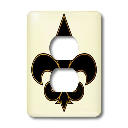 3dRose lsp_22360_6 Large Black and Gold Fleur De Lis Christian Saints Symbol 2-Plug Outlet Cover by 3dRose