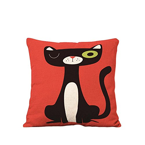 YOUR SMILE Squint Cat Cotton Linen Square Decorative Throw Pillow Case Cushion Cover 18x18 Inch(44CM*44CM) - Case Protector Cat Big