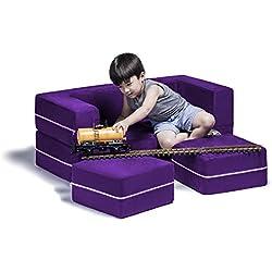 Jaxx Zipline Kids Modular Loveseat & Ottomans / Fold Out Lounger, Grape