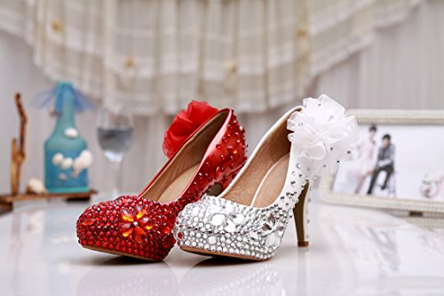 Minitoo MZLL036 Women's Stiletto Flowers Handmade Satin Wedding Party Evening Prom Pumps Shoes Silver EC3S13i