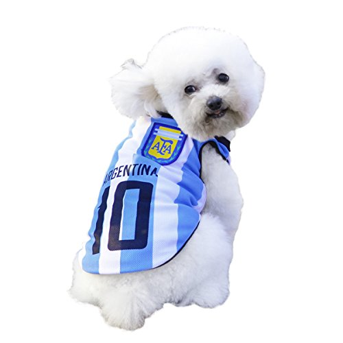 - SymbolLife Dog Clothes Football T-shirt Dogs Costume National Soccer World Cup FIFA Jersey for Pet Argentina