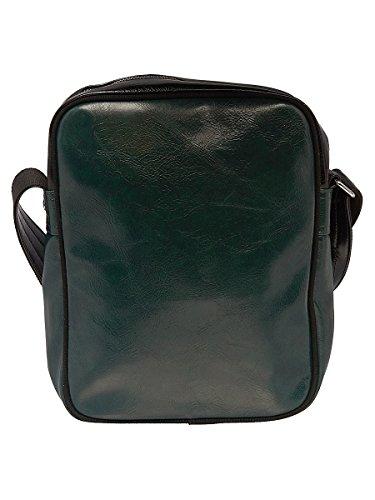FRED PERRY BORSELLO BORSA A TRACOLLA CLASSIC verde / nero BLACK SHOULDER BAG PVC 28x22x5 cm UOMO DONNA UNISEX