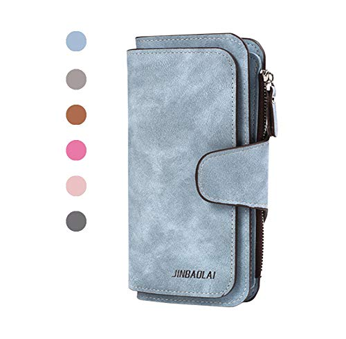 Garyesh womens wallets Leather Long Ladies Clutch Purse Multi-card (Light ()