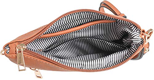 Strap Bag Crossbody Tan DELUXITY Removable Pocket and Everyday with Multi Wristlet CnqTp