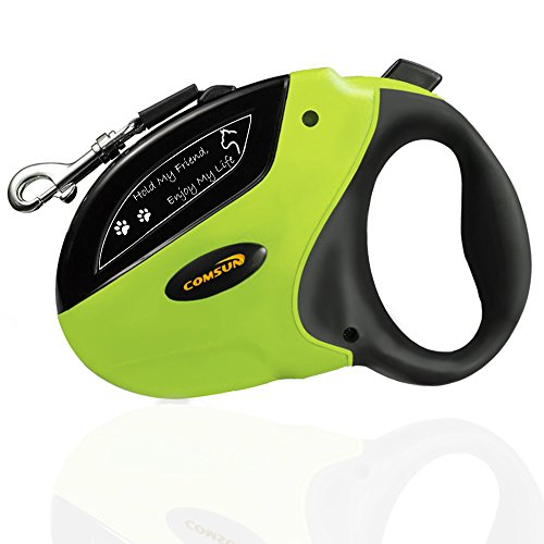 Retractable-Dog-Leash-Comsun-Pet-Leash-Dog-Lead-16ft-for-Small-Medium-Large-Dogs-up-to-110lbs-Tangle-Free-One-Button-Break-Lock-ABS-Casing-Nylon-Ribbon-Green