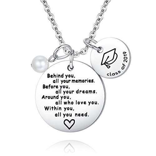 Usview 2019 Graduation Gift Jewelry for Best Friends Student Pandant Necklace from Teacher Parents Give Away Gifts, Inspirational Gift for Girl,Women (2019 Necklace)