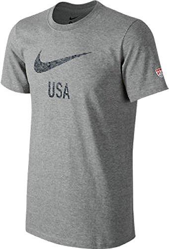 Nike United States America USA Fade Swoosh Core Soccer Team Slim Fit T-Shirt (Heather Gray, 2XL)