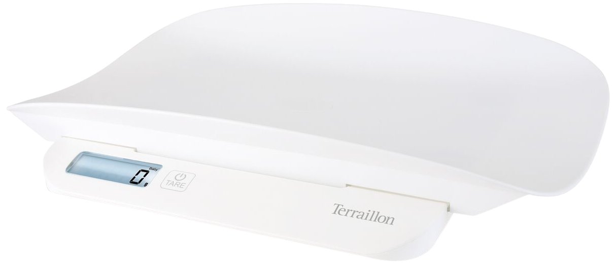 Terraillon Evolutive Baby Scales, Weight Stabilization, Tare Function, Detachable Baby Tray, Protective Cover Included, Precision and Accuracy Within 5g, Capacity up to 20kg, White 14067