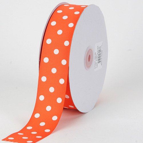 BBCrafts 1-1/2 inch x 50 Yards Grosgrain Polka Dot Ribbon Decoration Wedding Party (Orange with White -
