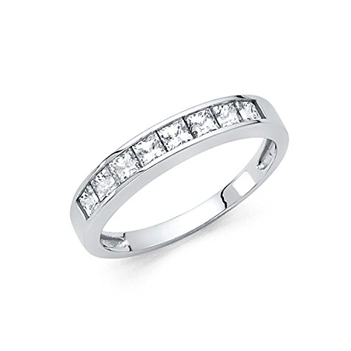 (Size 7 - 2.5mm Solid 14K White Gold Princess Cut Channel Invisible Set Wedding Band Ring (1.0 cttw.))