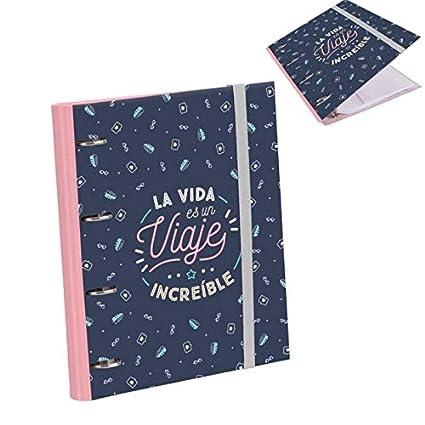 D,casa - Carpesano Anillas con 90 Hojas Frase La Vida es un Viaje increible