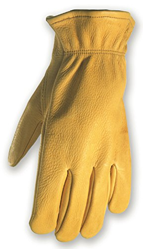 Deerskin Driver Gloves, Full Leather Work and Driving Gloves, Large (Wells Lamont 962L) - Ace Shirred Gloves