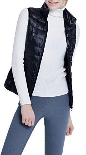 Sans Les Vestes Ultra Bas Veste Pour Noir Parka D'hiver Vers Mochoose Zipper Gilet Veste Le Manche Léger Femmes FXxdZZw8q