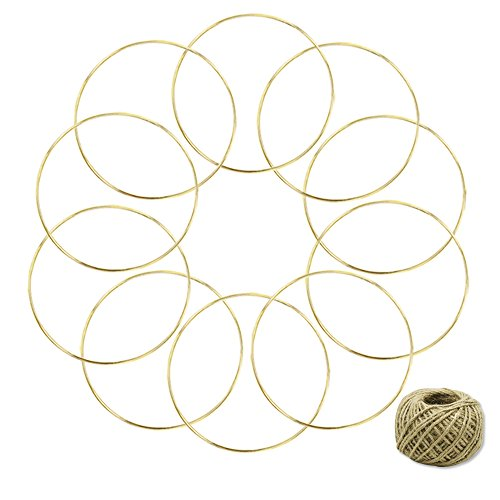 Coceca 10 Pieces 6-inch Gold Dream Catcher Metal Rings, Metal Hoops for Dream Catcher and Crafts, with 164ft Jute Twine as Gift