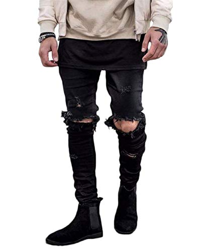 Ragazzo Nero Da Aderenti Skinny Uomo Nel Strappato Distressed Jeans Pantaloni Qk lannister Denim Ginocchio Vintage Foro Distrutti In qRUT8tng
