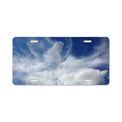 (CafePress - Jesus in Clouds - Aluminum License Plate, Front License Plate, Vanity Tag)