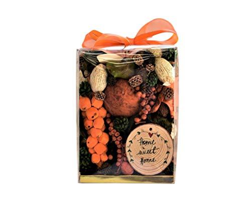 JACQVER PEPPERCORN | ORANGE POMANDER POTPOURRI13OZ BOX ORANGE&BROWN BOTANICALS. 신선한 마른 오렌지 슬라이스와 오렌지 활로 장식되어 있습니다. 미국에서 만든