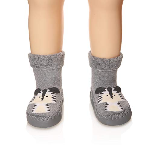Eocom Baby Boy Girls Toddlers Moccasins Non-Skid Indoor Slipper Shoes Socks (Gray, 6-12 Months)