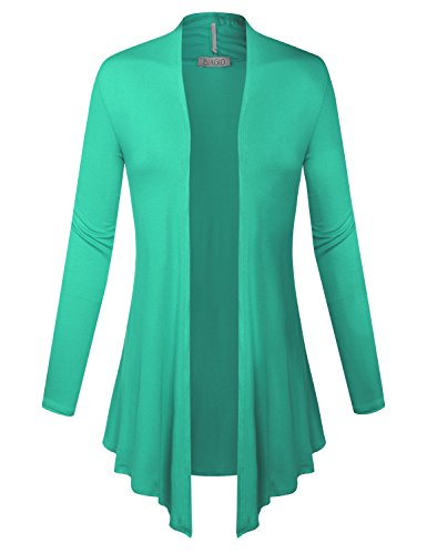 Floral Long Sleeve Cardigan - BIADANI Women Open Front Lightweight Cardigan with Side Pockets Mint X-Large