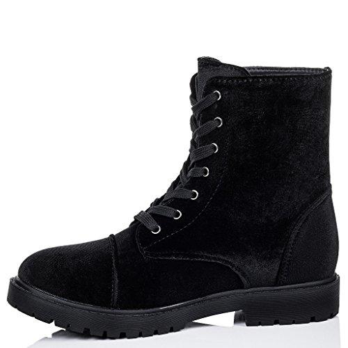 SPYLOVEBUY MOSH Mujer Cordone Planos Botes Bajas Zapatos Negro - Terciopelo Sintética