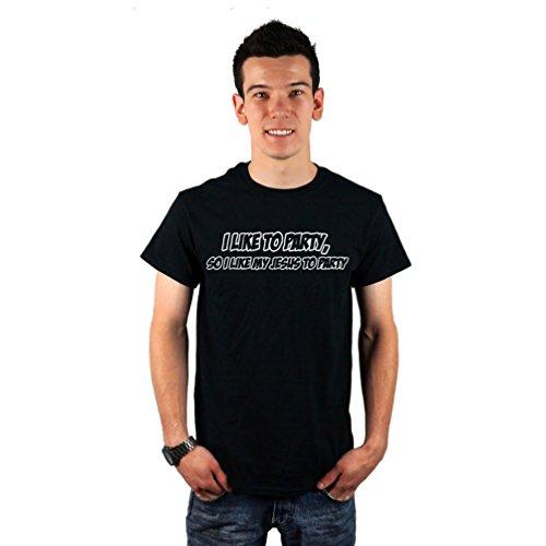 CLOTHING SERPENT Men's Funny Cal Naughton Jr I Like My Jesus To Party T-Shirt Large Black