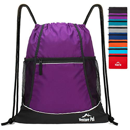 Venture Pal Packable Sport Gym Drawstring Sackpack Backpack Bag with Wet Pocket for Men,Women-Purple (Purple Drawstring Backpack)