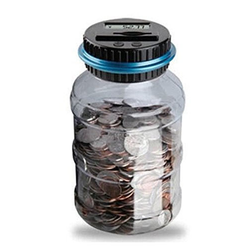 DEESEE(TM)Clear Digital Piggy Bank Coin Savings Counter LCD Counting Money Jar Change Gift]()