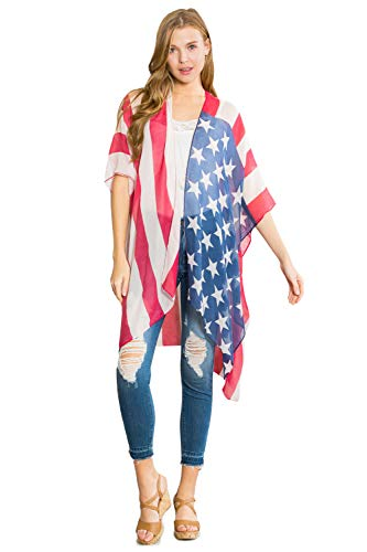 (American Flag Patriotic Shawl Wrap Cardi - July 4 USA Stars Stripes Open Kimono Cardigan, Long Vest, Scarf (Kimono Cardi - Graphic Flag))