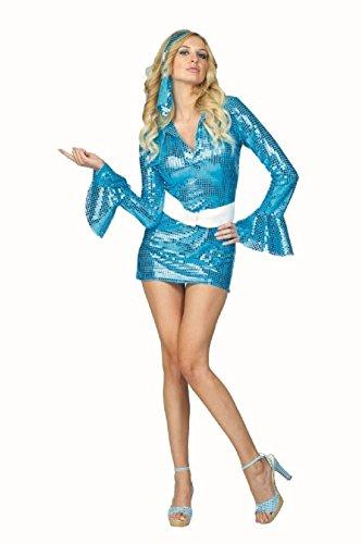 OvedcRay 1970S 60'S 70'S Disco Fever Sequin Dress Hippie Retro Go Go Girl Woman Costumes -