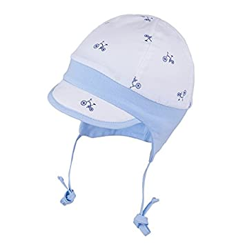 f2f1328a2dc TIE UP 100% Cotton hat with UV +30 SUN PROTECTION Spring Summer BABY BOYS  (6-12 months